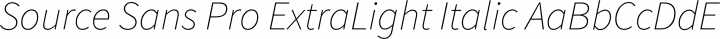 Source Sans Pro ExtraLight Italic free font