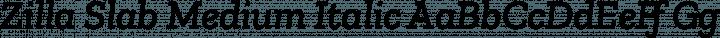 Zilla Slab Medium Italic free font