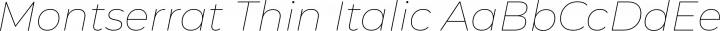 Montserrat Thin Italic free font