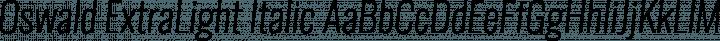 Oswald ExtraLight Italic free font
