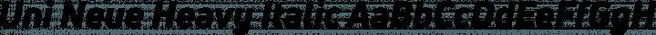 Uni Neue Heavy Italic free font