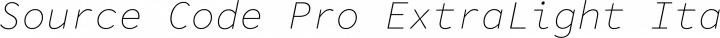 Source Code Pro ExtraLight Italic free font