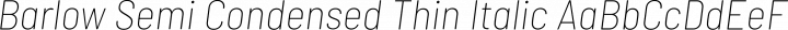 Barlow Semi Condensed Thin Italic free font
