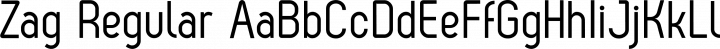 Zag Regular font family by Fontfabric