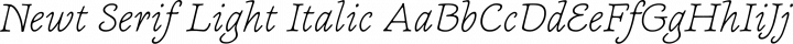 Newt Serif Light Italic free font