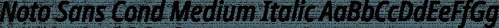 Noto Sans Cond Medium Italic free font